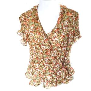 Allison Taylor Short  Sleeve Floral Wrap Top
